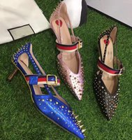 Wedding Pumps Medium(B,M) 2017 blue black pink high heels rivet wedding shoes women genuine leather pointed toe shoes for weedding party evening