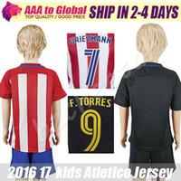 Camisa # 7 del fútbol de los niños del jersey 2017 de Torres de los cabritos GRIEZMAN # 9 F TORRES # 6 KOKE