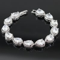 ashley free - Ashley Water Drop White CZ Silver Color Link Chain Bracelet For Women Wedding Jewelry Free Gift Box