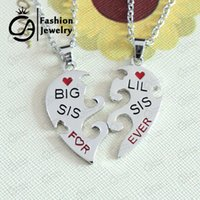 big n lots - BIG SIS LIL SIS Sister Forever Split heart family Love Pendant Necklace Christmas Gift Jewelry Set LN1172 N