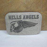 al por mayor antiguo cinturón de plata-Hebilla de correa de los ángeles de los infiernos de BuckleHome 2 colores disponibles con el final de plata antiguo envío libre