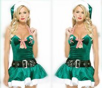 belt suit - Christmas Series Clothing Uniform Temptation Green Christmas Princess Skirt Striped Bow Christmas Clothing Adult Game Suit Hat skirt belt