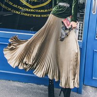 Wholesale Vintage Satin Long Skirts Womens Autumn Winter Smooth Metallic Pleated Skirts Ladies Elegant High Waist Elastic Party Maxi Skirt