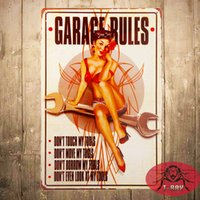 Wholesale T Ray Garage Rules Pin Up Girl Sign Great tool sign for the Garage or Shop with just the right rules