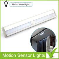 Wholesale 10 LED Wireless PIR Auto Motion Sensor Light Intelligent Portable infrared Induction Lamp Night Lights Cabinet Light