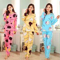 achat en gros de femmes soie pantalons costumes-19 Couleurs Femmes Pyjamas Costumes Printemps Automne Cartoon Féminin Longue-Manche Pajama Pantalons Lait Silk Pyjamas Costumes survêtement