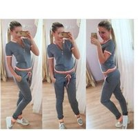 Wholesale Cheapest new Europe and the United States women s sports short sleeved V necksuit as pic