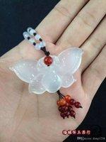achat en gros de certificat de papillon-Perle de jade blanc naturel perles collier pendentif pendentif agate jade jade papillon accessoires envoyer un certificat