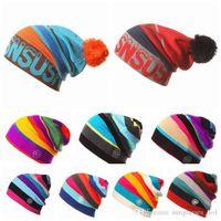 Sombrero de punto de rayas de colores de invierno Sombreros de mujeres Gorras de cráneo Sombrero de snowboard de esquí al aire libre Unisex Knit Crochet Slouchy Gorras PPA725