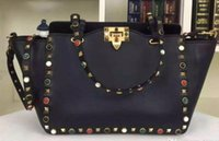 Wholesale The casual three styles nine colors imported head calfskin genuine leather with colorful rivets top A quality design women shoulder bag