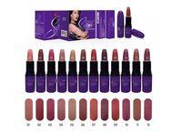 al por mayor magic color cosmetics-Selena Purple Tube Nude Matte Lipstick Marcas M La magia de la noche de Navidad Set Maquillaje 3g 12 colores Nombre en Inglés Cosméticos