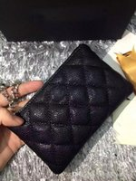 Wholesale Key classic quilted black caviar free delivery card box small box seat female sheepskin wallet silver hardware