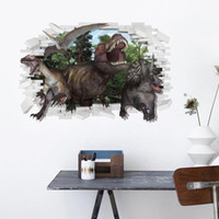 Wholesale 2 pieces D World Jurassic Dinosaur Park PVC Removable Children Bedroom Wall Stickers
