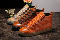 Wholesale 2017 Men Famous Designer Brand Genuine Leather Sneakers High Top Boots Casual Flat Shoes Fashion Men Luxury Sports Shoes Size