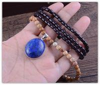 Bohemian azurite pendant - Retro dyu rosewood pictures azurite joker long stone pendant beads necklace