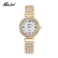 adorn fashion - Miss Fox Arrival Fashion Hot Sales Orignal Design Tribute To Classic Retro Lady Watches Pearls Adorned With Diamonds wristwatches
