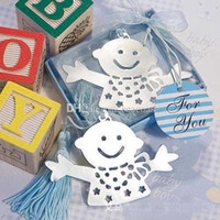 Wholesale 100pcs Free DHL Shipping Lovable Baby Boy With Blue or Pink Tessels Bookmark Baby Shower Wedding Party Favors Gift