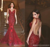 Wholesale Vestiods De Novia Arabic Mermaid Formal Evening Dresses Illusion Bodice Plus Size Burgundy Lace Prom Party Occasion Gowns Custom Made