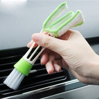 Wholesale 1pcs Car Exhaust Outlet Double headed Cleaning Brush Air conditioning Outlet Shutters Cleaning Brush Cleaning Keyboard Brush