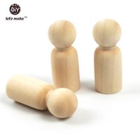 Wholesale 100PCS quot mm peg dolls Natural Unfinished wood beads Turnings Ready for Paint Waldorf People Wooden Gentleman