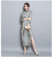 Wholesale The new China folk style printing slim slim dress cheongsam fashion temperament