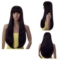 Perruque anime girl black France-Fashion Long Straight Black Neat Bang Femmes Cheveux à cheveux complets Cosplay / Party Perruques Longs cheveux lisses Anime perruques Costume Party perruque kabell