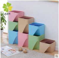 Wholesale Garbage bucket household tube Waste Bins Overlying classified dustbin saving space Eco friendly and cute smart L