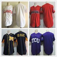 Men baseball alabama - 2017 New NCAA Alabama Crimson Tide Michigan Wolverines Arizona Wildcats TCU Horned Frogs Embroidered College Baseball Jerseys Size S XL