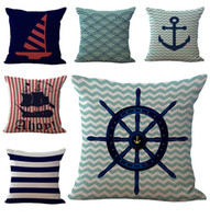 anchor textiles - Nautical Sailing Boat Rudder Anchor Throw Pillow Cases Cushion Cover Pillowcase Home Office Square Pillow Case Pillowslip Textiles