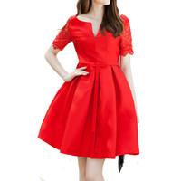 Wholesale JSEO Women Vintage Square Neck Floral Lace Short Sleeve Cocktail Swing Dress Red A Line Cocktail Party Dress
