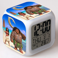 Wholesale LED Color Changing Alarm Clock Moana Princess Digital Snooze Alarm Clocks wit date time nightlight thermometer DHL