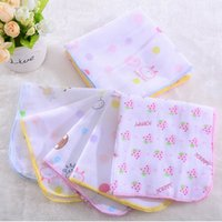 Wholesale Baby Feeding Towel Teddy Bear Bunny Dot Chart Printed Children Small Handkerchief Gauze Towels Nursing Towel