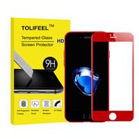 Precio de Carbono especial-Vidrio templado delantero de la edición especial de 3D Red para el iPhone 6 6S 7 más la película cubierta del protector de la pantalla del borde de la fibra del carbón suave 9H