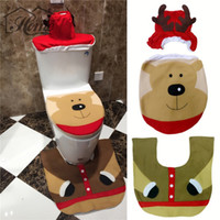 bearing seat - Christmas Bear Toilet Seat Cover Rug Bathroom Set Contour Rug Xmas Decorations For Natal Navidad Decoracion New Year Gift