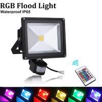 Wholesale Sensor LED Flood Light W W W W Waterproof Reflector Light AC85 V Outdoor Gargen Led Spot Floodlight RGB Warm White