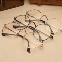 Wholesale Men Vintage Metal Round Sunglasses Frames Women Clear Lens Eyeglass Frames Lenses Optical Plain Light Retro Students Decorate Glass F438