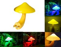 Wholesale Mini Pretty Magic Mushroom Shaped Energy Saving Sensor LED Romantic Night Light with Plug Yellow with sensor led