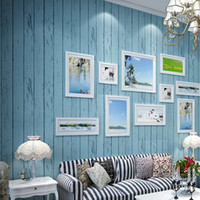 Wood Fiber Wallpaper Textile Wallpapers Heat Insulation Wholesale-Mediterranean Blue White Wood Panel non-woven wallpaper Roll Natural Rustic Wood Wood board wall coverings paper de parede
