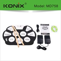 achat en gros de batterie électronique pad ensemble-Vente en gros-Hot électronique Drum Set USB / MIDI Machine Roll up Drums kits / avec tambour Sticks / 5-Drum / 9-Pad Srum Livraison gratuite
