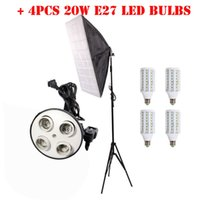 Softbox Light Bulbs: Wholesale-4PCS E27 LED Bulbs 4 Socket Head 50 x 70cm Softbox +Light Tripod  Stand For Photography Softbox Light Kit Photo Equipment,Lighting