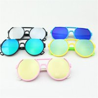 Wholesale DHL Girl Children Round Frame Boy Sunglasses PC Lenses Candy Color Fashion Baby Sunglasses Girl Fashion Sun Glasses Kid Gift