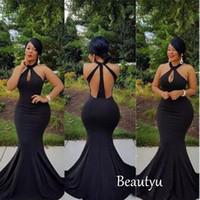 Plus Size sexy preto sereia Prom Dresses Graduação longo colheita Top mangas Negro Africano Brasil Meninas Cheap Vestidos de noite 2017