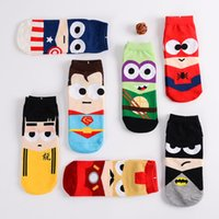 Sock Slippers anime knitting - League Of Legends Iron Man Spider Man SuperMan Captain America Mens Cartoon Anime Cotton Low Cut Sock Boat Socks