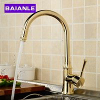 Wholesale 360 Degree Swivel Solid Brass Kitchen Mixer Cold and Hot Kitchen Tap Single Hole Water Tap Kitchen Faucet