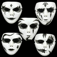 ball dancing steps - Hand painted Plastic Masks Hip hop White Mask Dance Step Ghost Unisex Elastic Band Party Ball Custume Prom Prop ZA1401