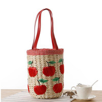 apple buckets - Newest Apple Barrel shaped Drawstring bucket bag Sweet Ladies shoulder bag Women Weave Travel Handbag Straw Beach Bag Li329