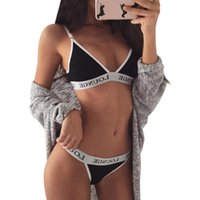 achat en gros de bra and panty set-Lingerie Sexy Lingerie Bra et Panty Set Lettres imprimées Sexy Ladies Tape Push Up Short Sets