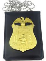 Carved badge cases - US FBI FEDERAL BUREAU OF INVESTIGATION DEPARTMENT OF JUSTICE BADGE WITH BADGE HOLDER CASE CHAIN