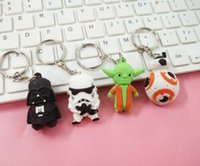 RUBBER action stainless - Star Wars Darth Vader Keychains Cartoon Keychain YODA Black White Star Wars Action Figure Toys Keyrings Dark Warrior Promotion Gift Xmas