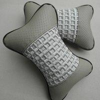 2016 El más nuevo 2pcs / lot Coche gris cojín para el cuello de la almohada cubre coche Danny cuero Coche almohadilla Seat Cover Cojín almohada